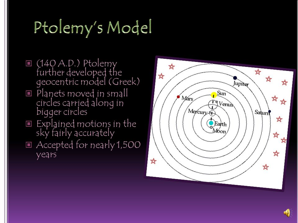 Ptolemy's Model (140 A.D.) Ptolemy further developed the geocentric model (Greek) Planets moved in small circles carried along in bigger circles.