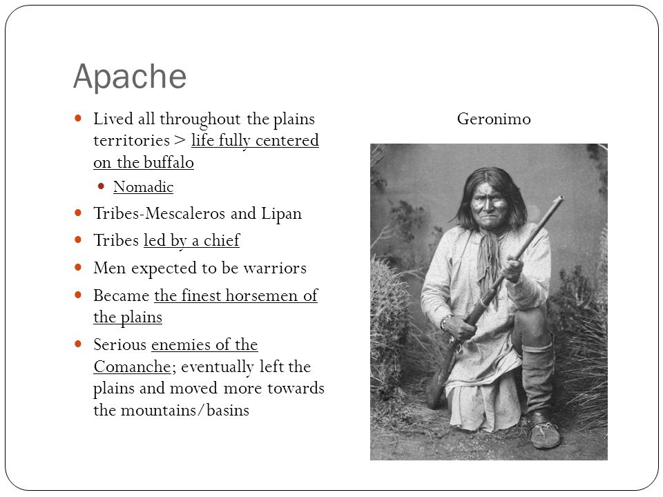 Apache Lived all throughout the plains territories > life fully centered on the buffalo. Nomadic.