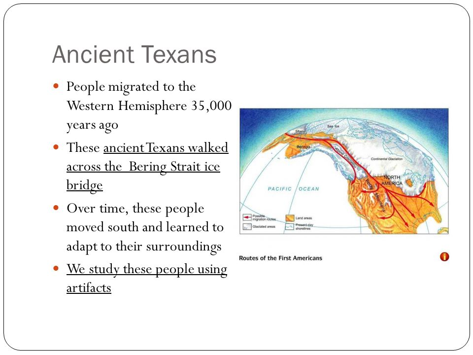 Ancient Texans People migrated to the Western Hemisphere 35,000 years ago. These ancient Texans walked across the Bering Strait ice bridge.