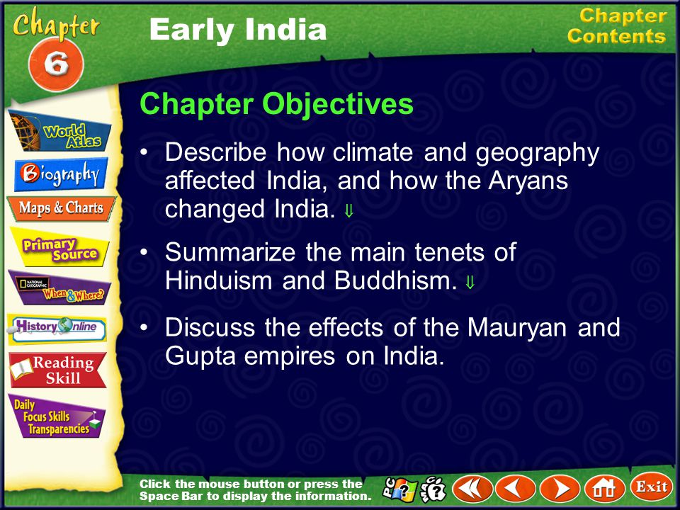 Early India Chapter Objectives
