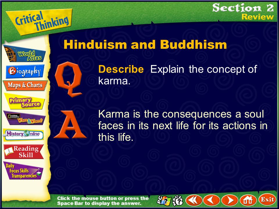 Hinduism and Buddhism Describe Explain the concept of karma.