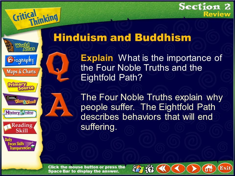 Hinduism and Buddhism Explain What is the importance of the Four Noble Truths and the Eightfold Path