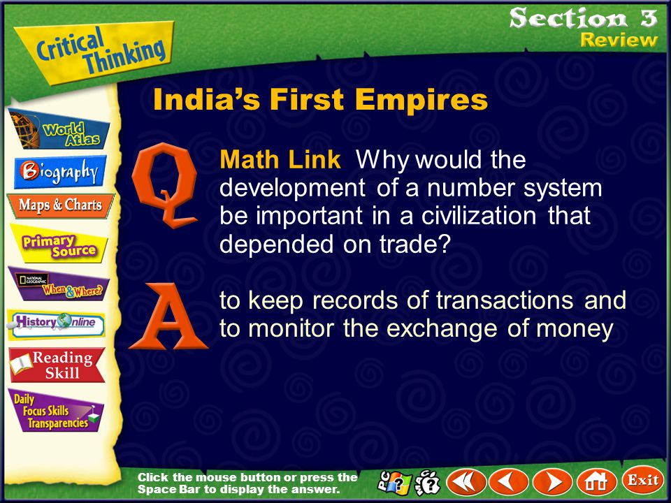 India's First Empires Math Link Why would the development of a number system be important in a civilization that depended on trade