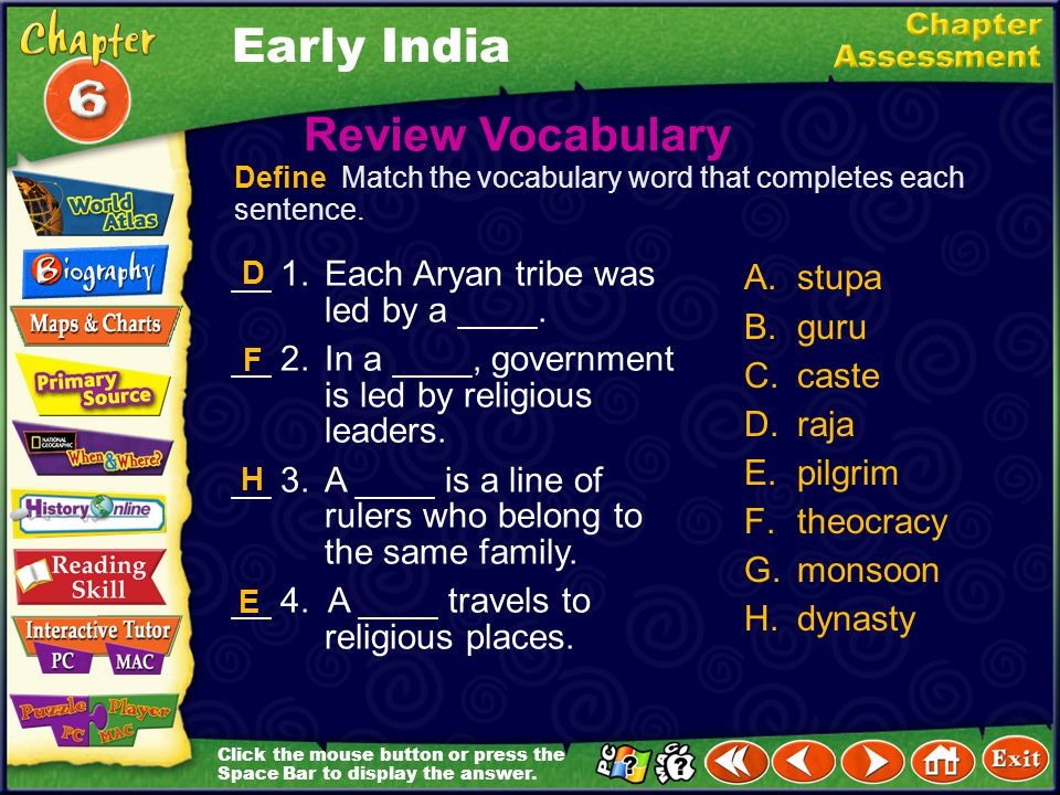 Early India Review Vocabulary