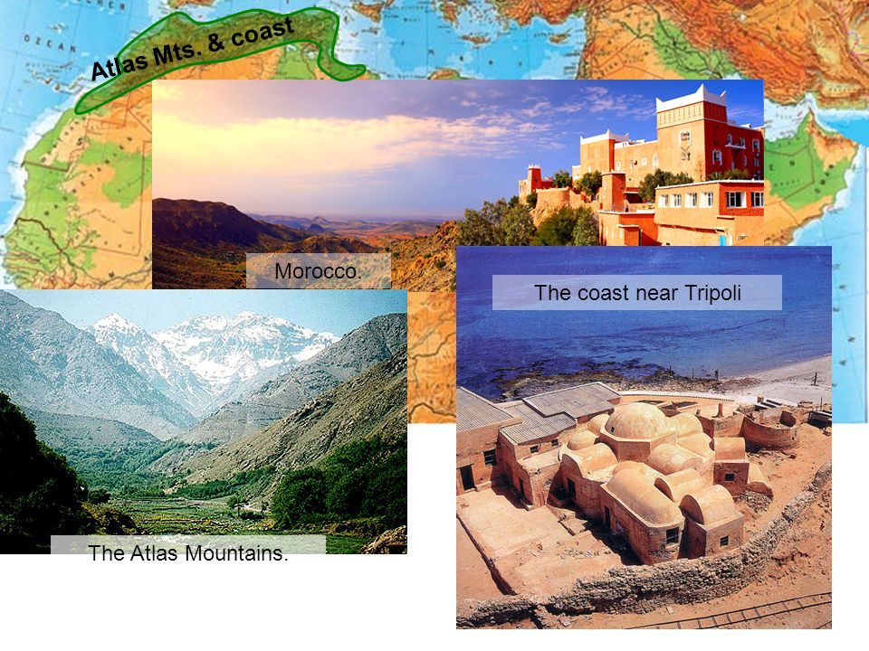 Atlas Mts. & coast Morocco. The coast near Tripoli