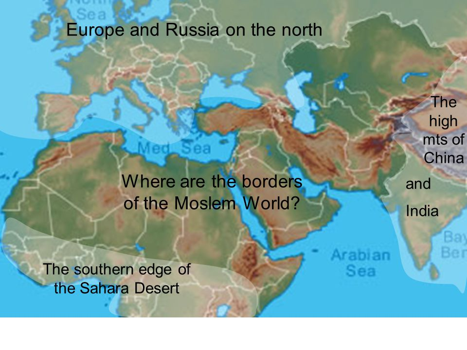 Europe and Russia on the north