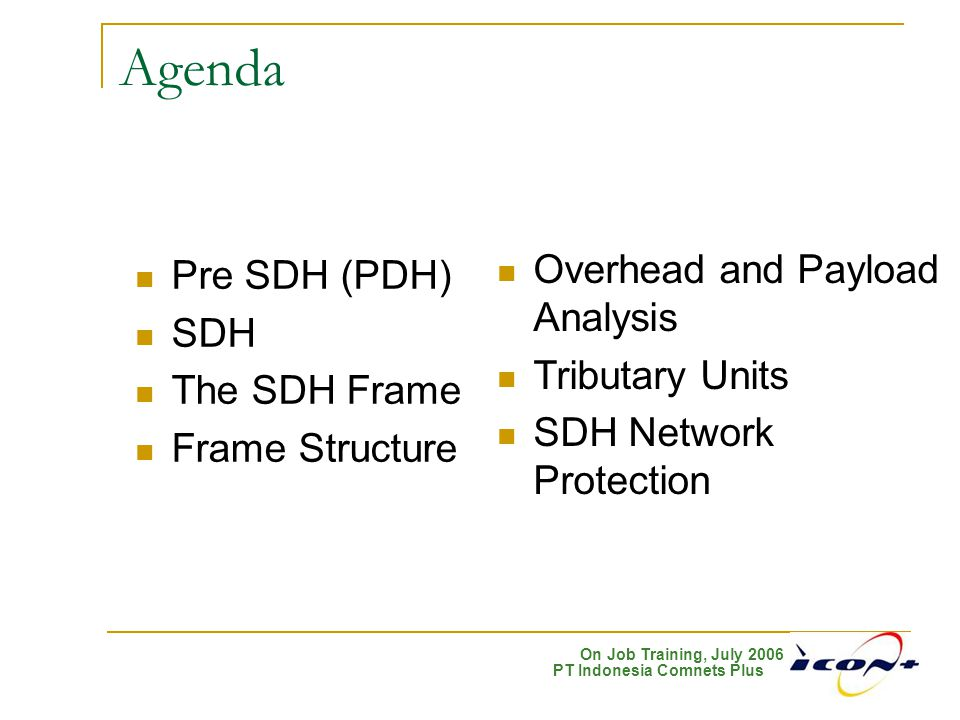 Agenda Overhead and Payload Analysis Pre SDH (PDH) SDH Tributary Units