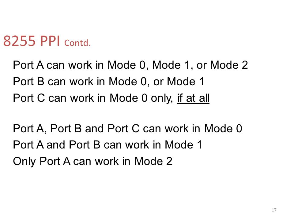 8255 PPI Contd. Port A can work in Mode 0, Mode 1, or Mode 2