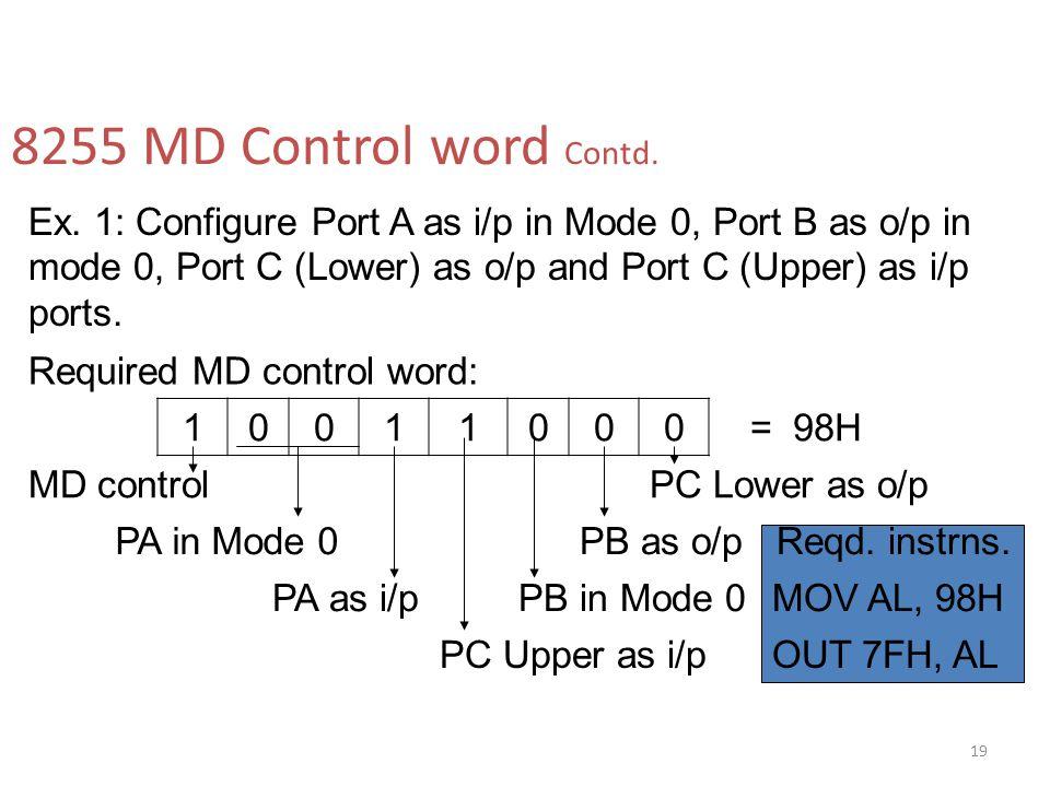 8255 MD Control word Contd. Ex. 1: Configure Port A as i/p in Mode 0, Port B as o/p in mode 0, Port C (Lower) as o/p and Port C (Upper) as i/p ports.