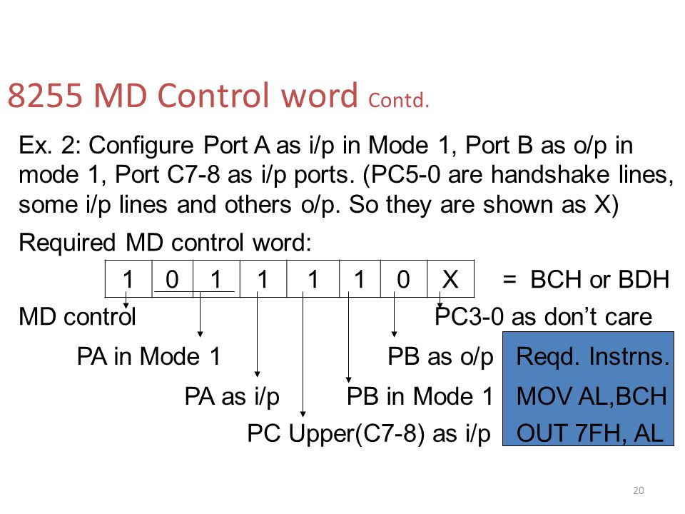 8255 MD Control word Contd.