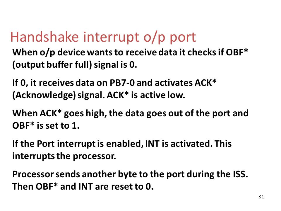 Handshake interrupt o/p port