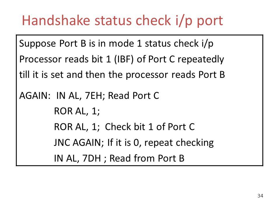 Handshake status check i/p port