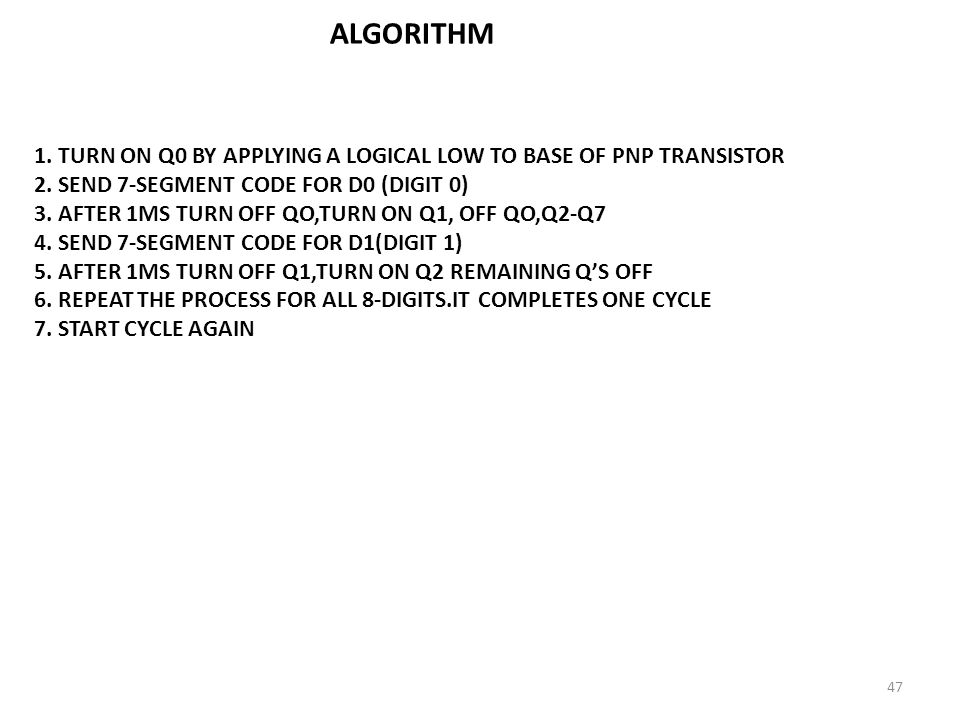 ALGORITHM TURN ON Q0 BY APPLYING A LOGICAL LOW TO BASE OF PNP TRANSISTOR. SEND 7-SEGMENT CODE FOR D0 (DIGIT 0)