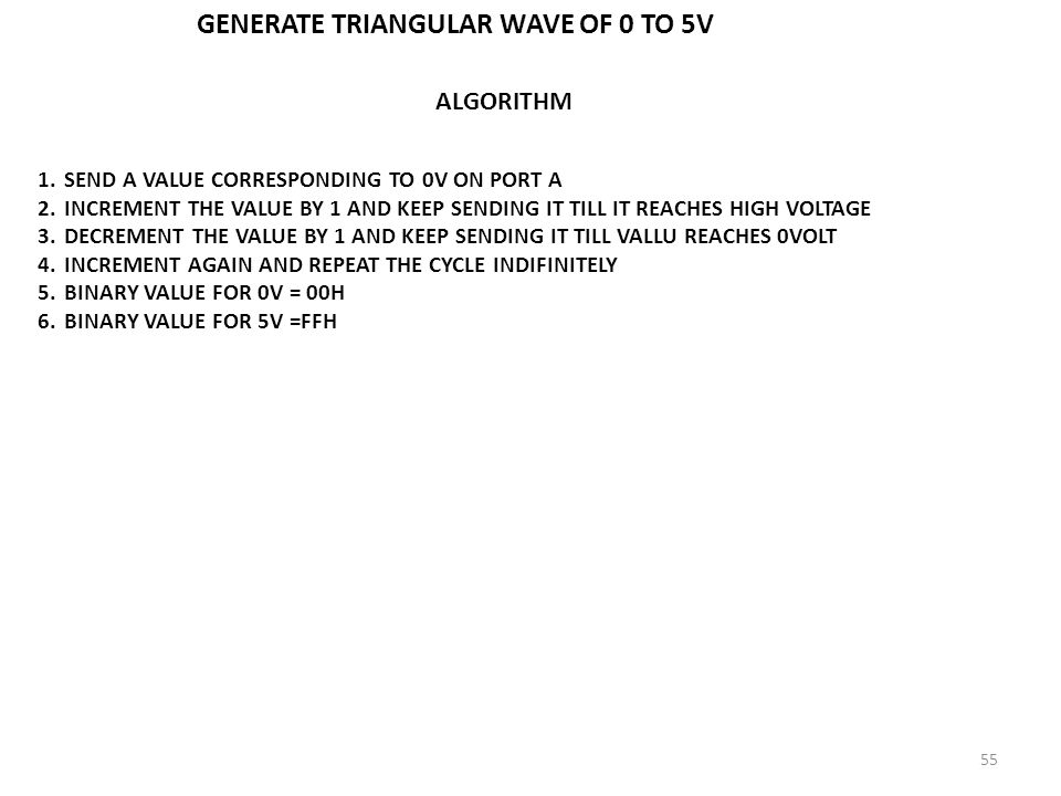 GENERATE TRIANGULAR WAVE OF 0 TO 5V