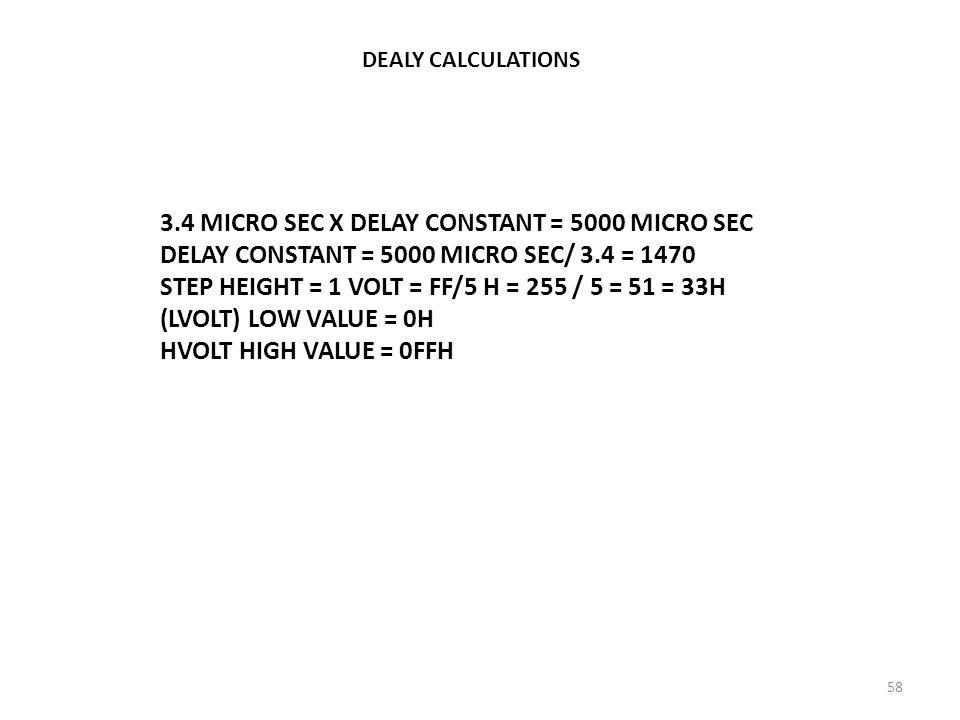 3.4 MICRO SEC X DELAY CONSTANT = 5000 MICRO SEC
