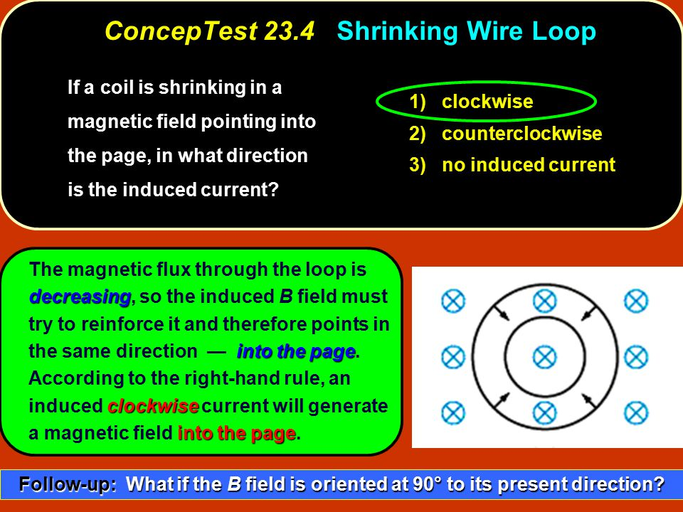 ConcepTest 23.4 Shrinking Wire Loop
