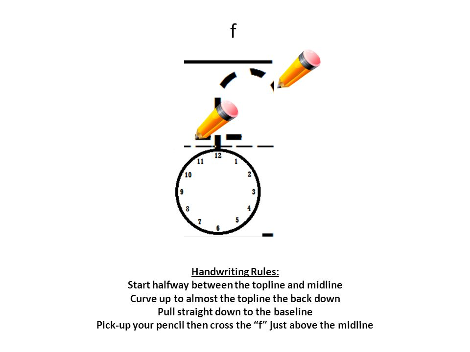 f Handwriting Rules: Start halfway between the topline and midline