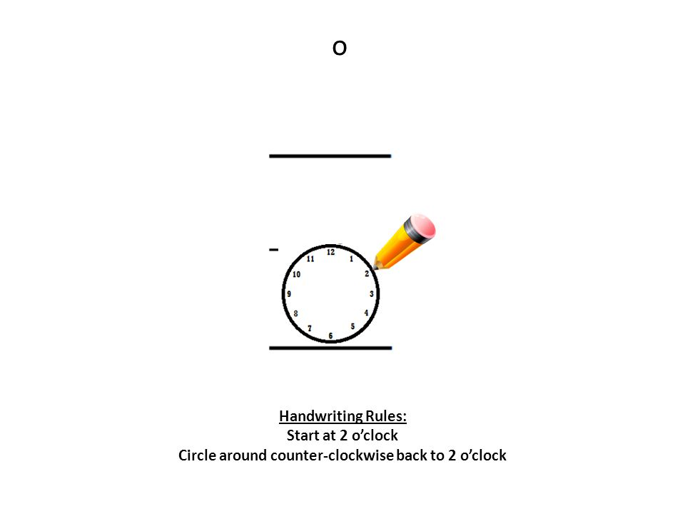 o Handwriting Rules: Start at 2 o'clock Circle around counter-clockwise back to 2 o'clock
