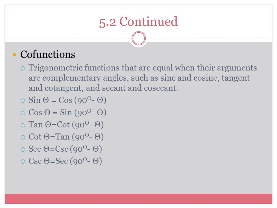 5.2 Continued Cofunctions