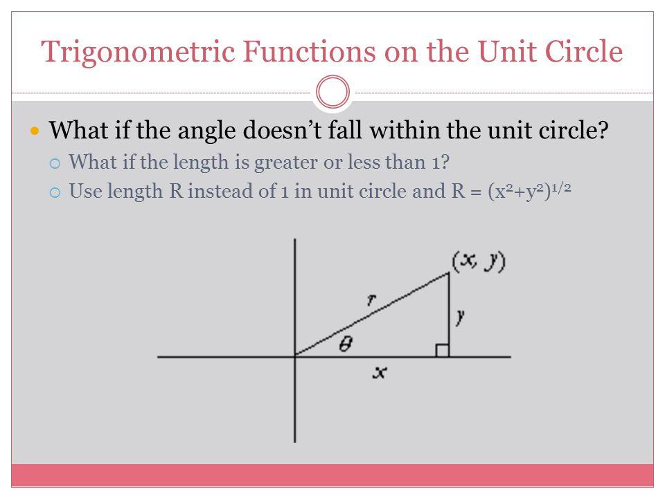 Trigonometric Functions on the Unit Circle