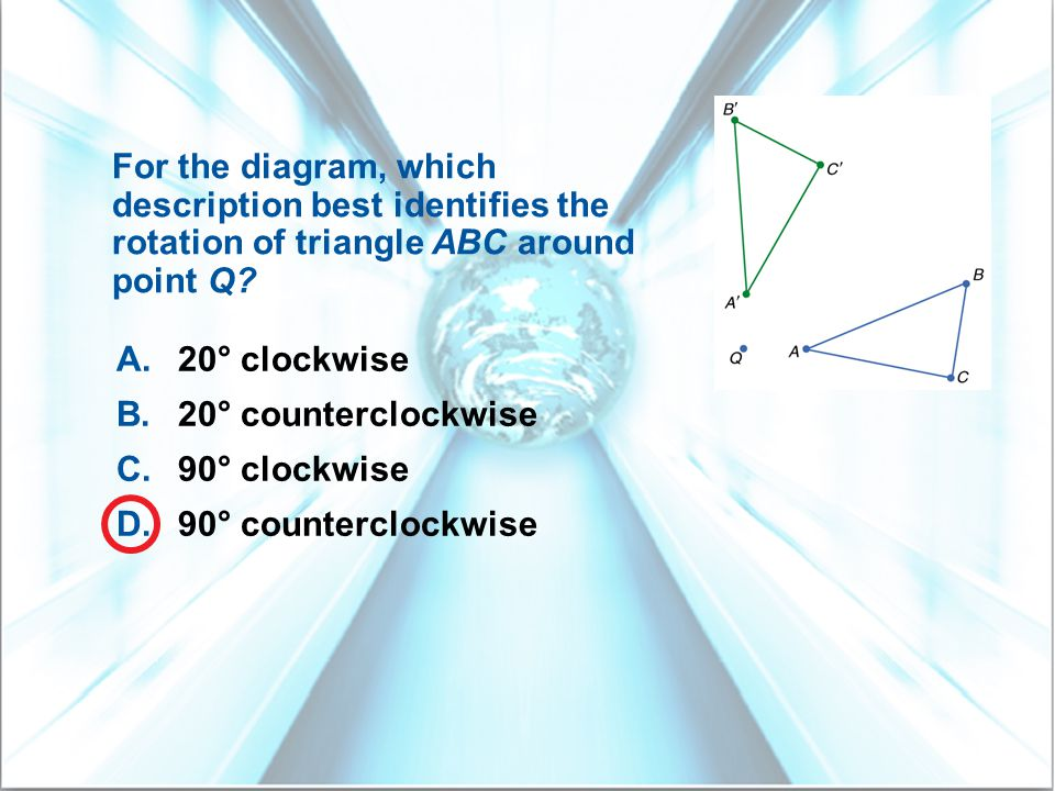 For the diagram, which description best identifies the rotation of triangle ABC around point Q