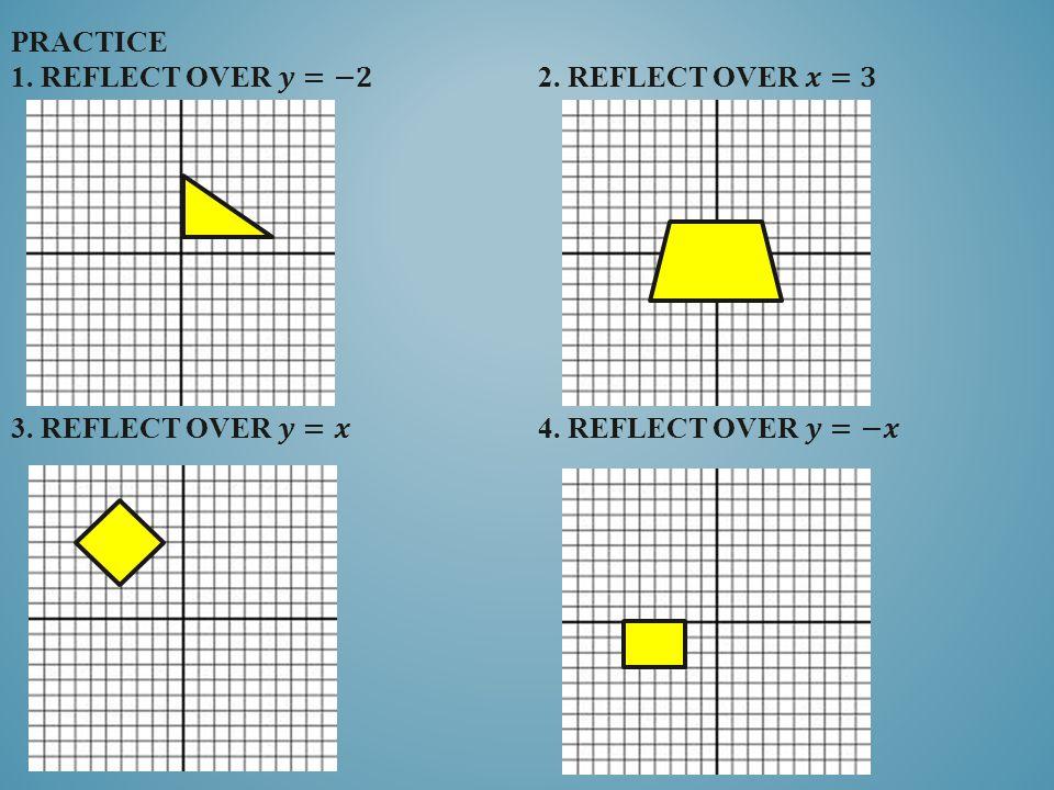 practice 1. reflect over 𝒚=−𝟐. 2. reflect over 𝒙=𝟑 3. Reflect over 𝒚=𝒙