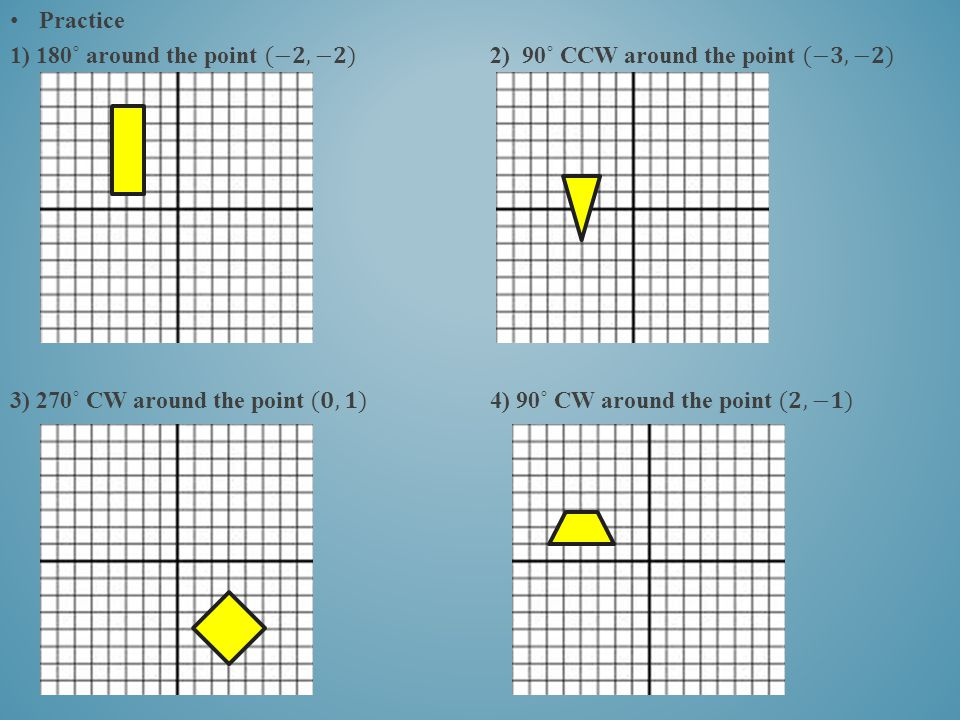 Practice 1) 180˚ around the point (−𝟐,−𝟐) 2) 90˚ CCW around the point (−𝟑,−𝟐)
