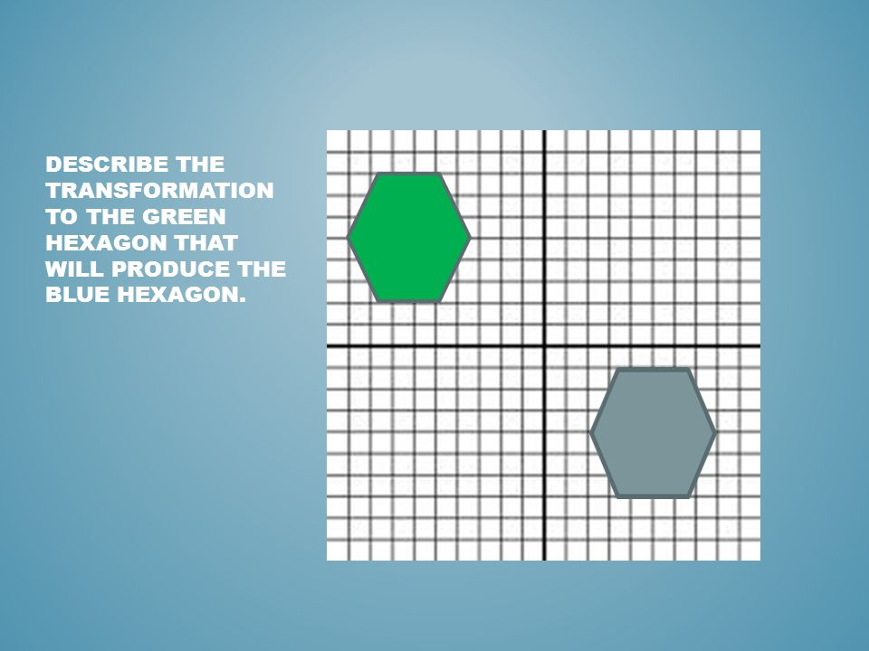 Describe the transformation to the green hexagon that will produce the BLUE hexagon.