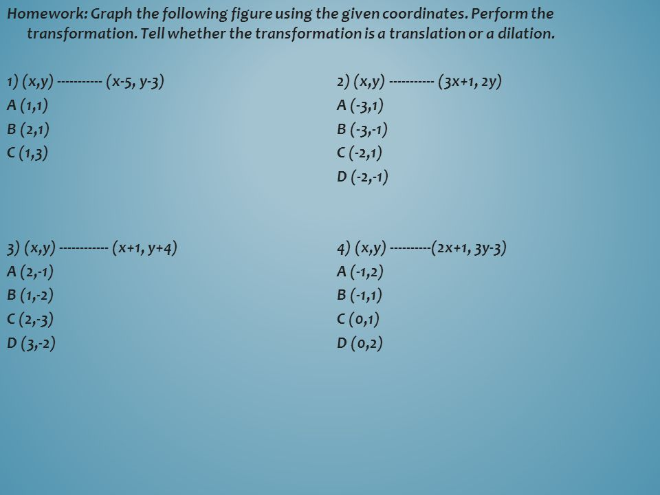 Homework: Graph the following figure using the given coordinates