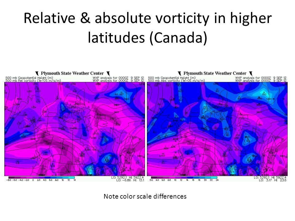 Relative & absolute vorticity in higher latitudes (Canada)