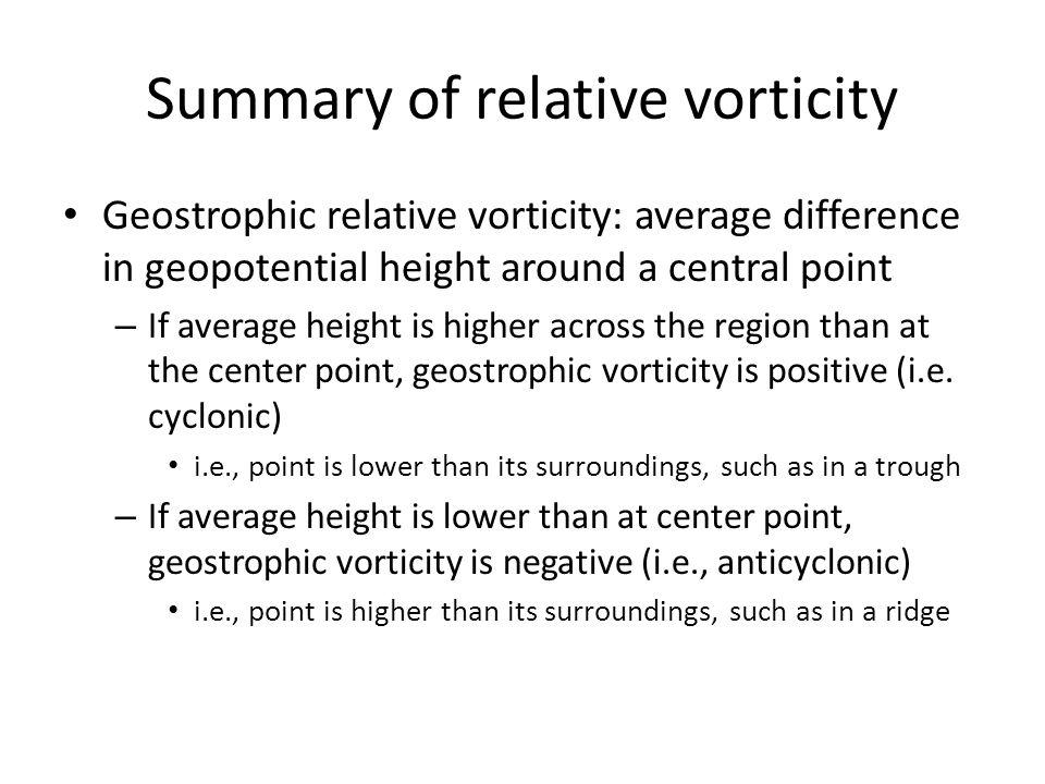 Summary of relative vorticity