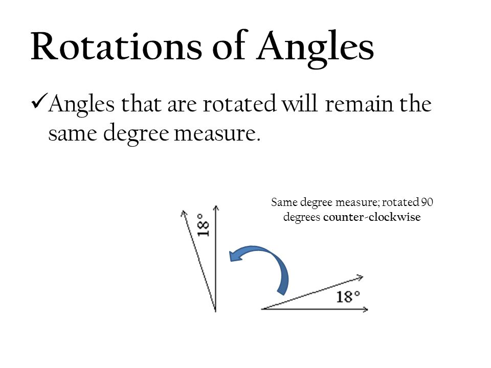 Same degree measure; rotated 90 degrees counter-clockwise