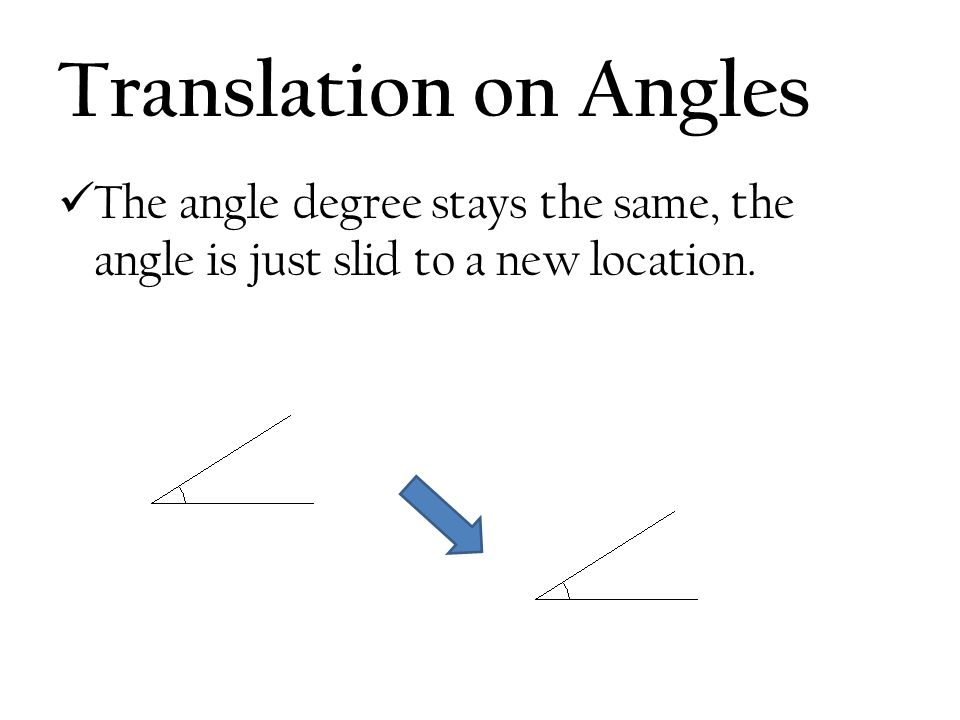 Translation on Angles The angle degree stays the same, the angle is just slid to a new location.