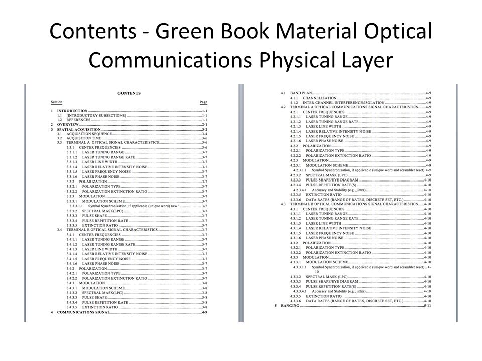 Contents - Green Book Material Optical Communications Physical Layer