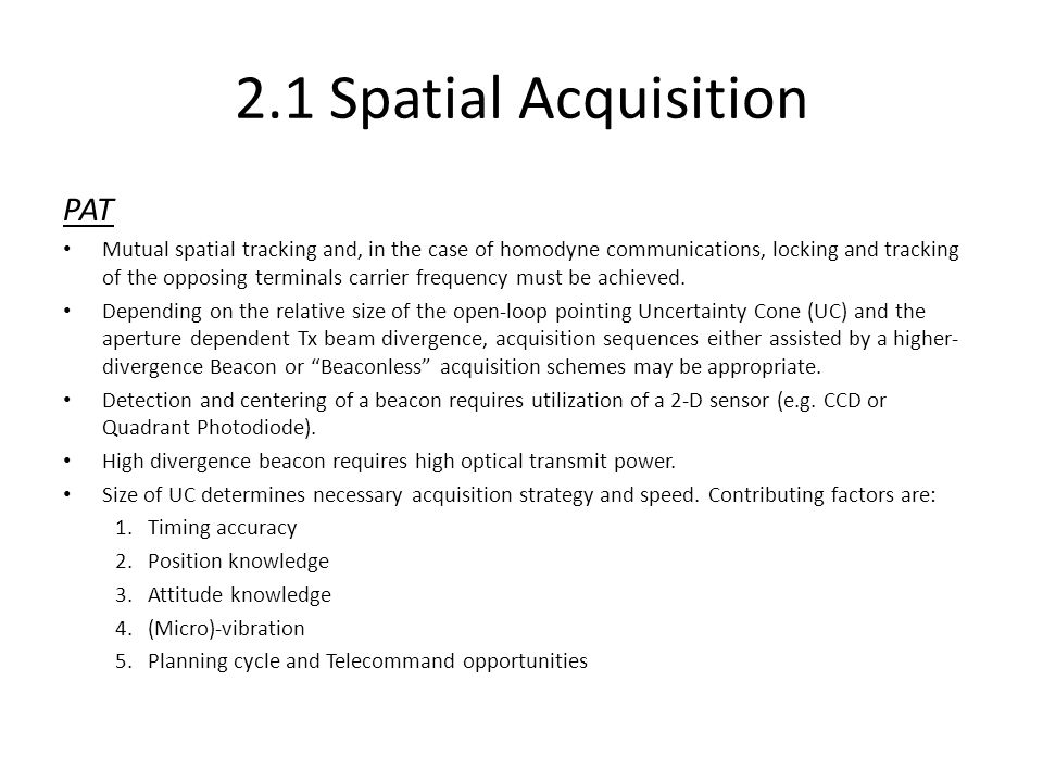 2.1 Spatial Acquisition PAT