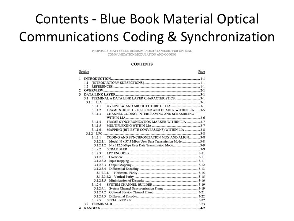 Contents - Blue Book Material Optical Communications Coding & Synchronization