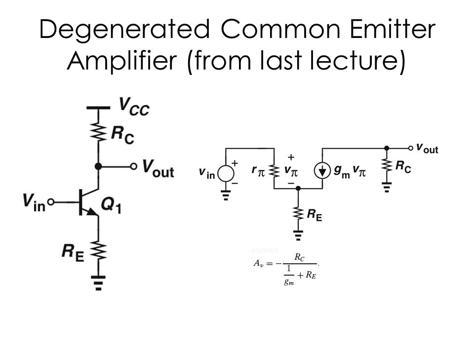 Degenerated Common Emitter Amplifier (from last lecture)