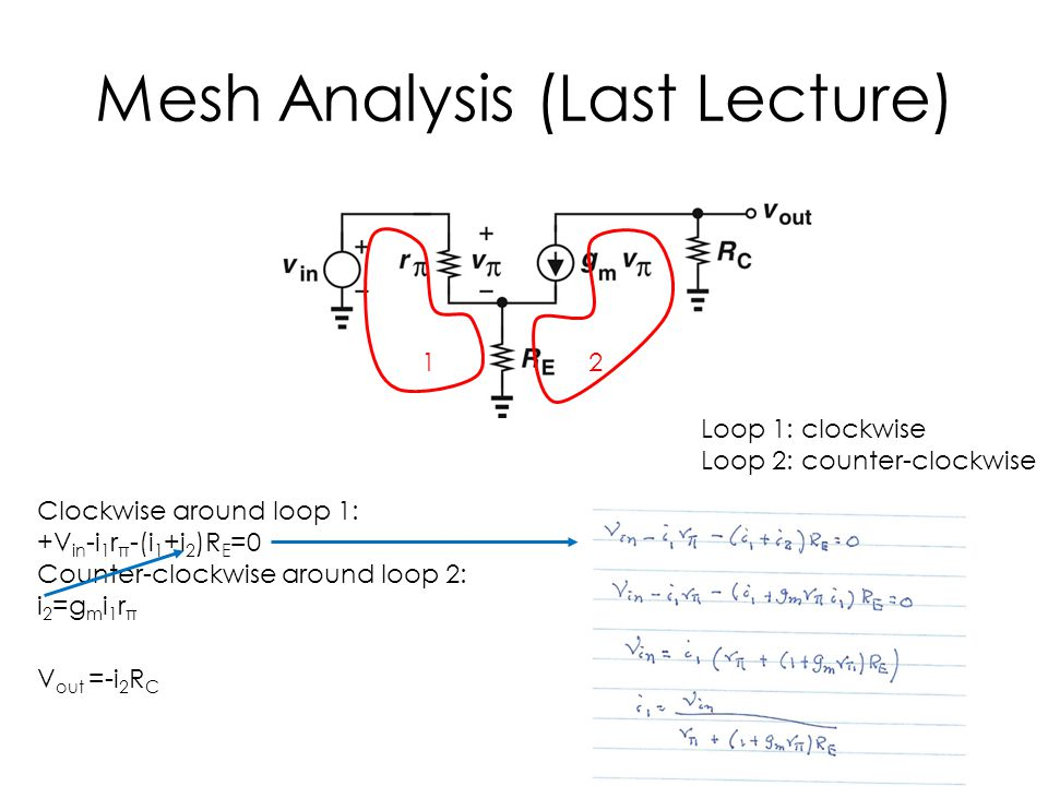 Mesh Analysis (Last Lecture)