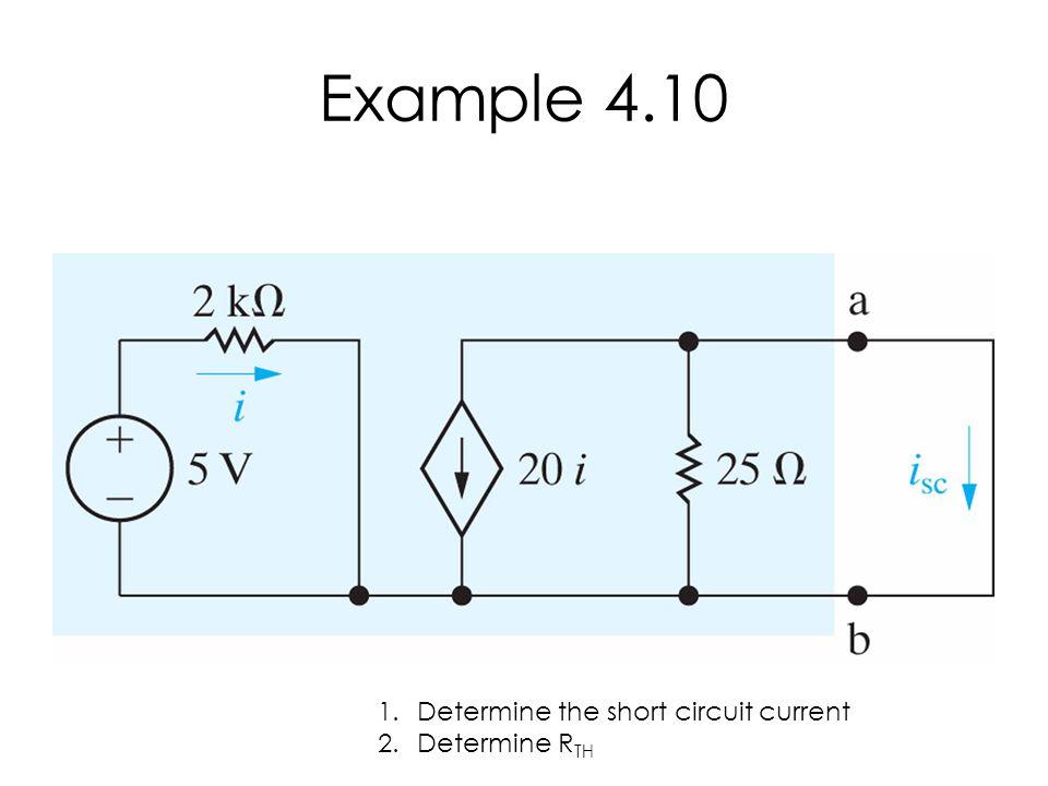 Example 4.10 Determine the short circuit current Determine RTH