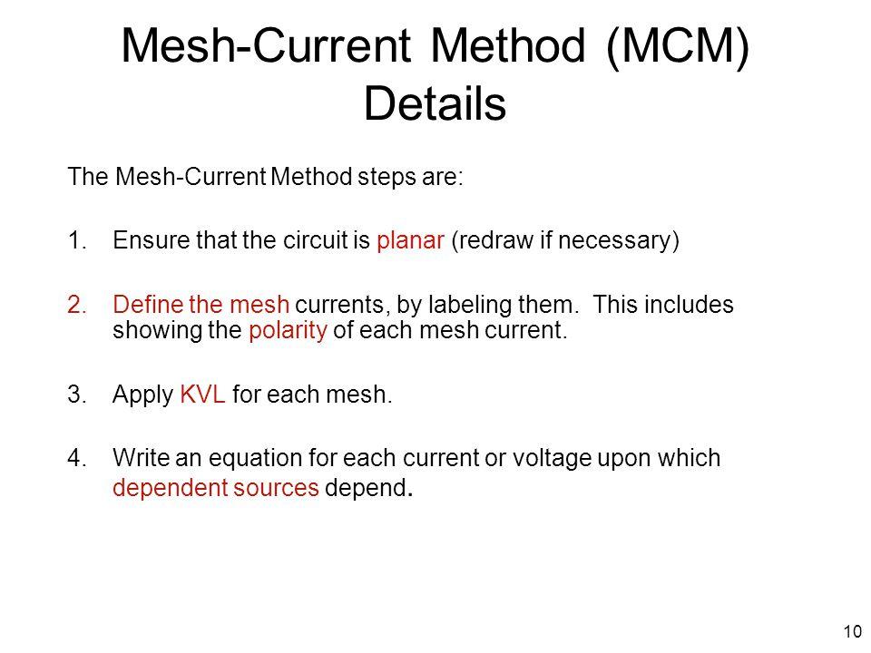 Mesh-Current Method (MCM) Details