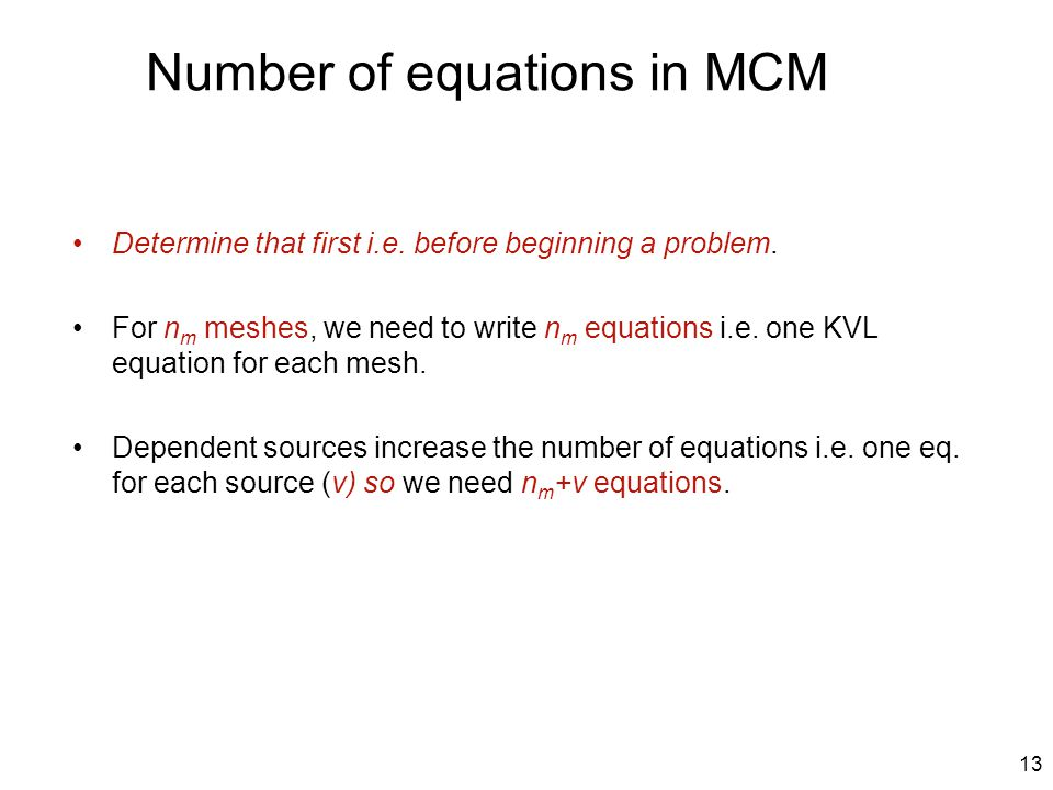 Number of equations in MCM