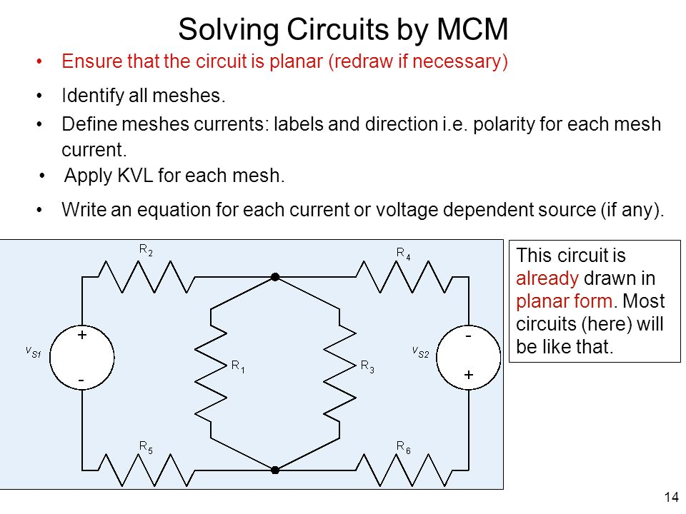 Solving Circuits by MCM