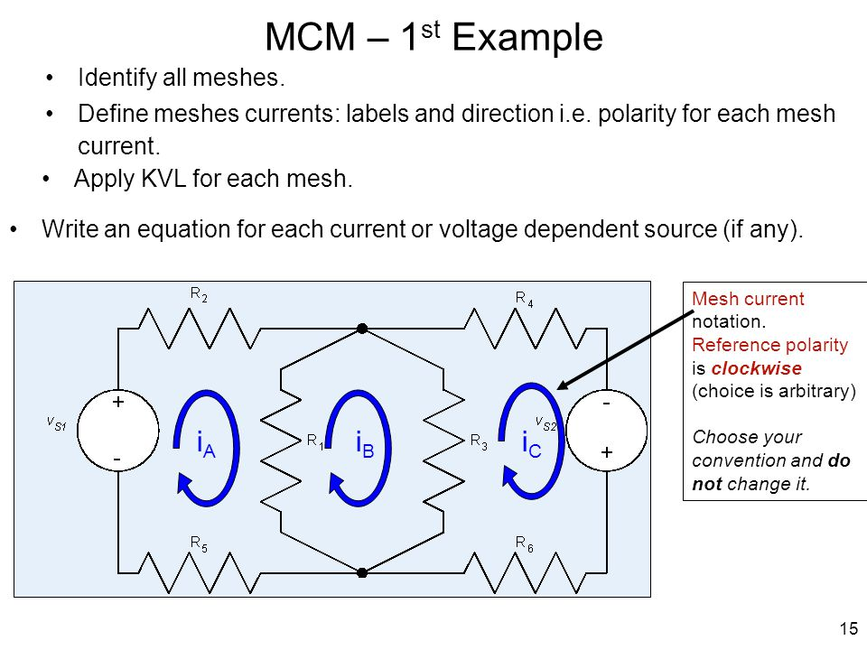 MCM – 1st Example iA iB iC Identify all meshes.