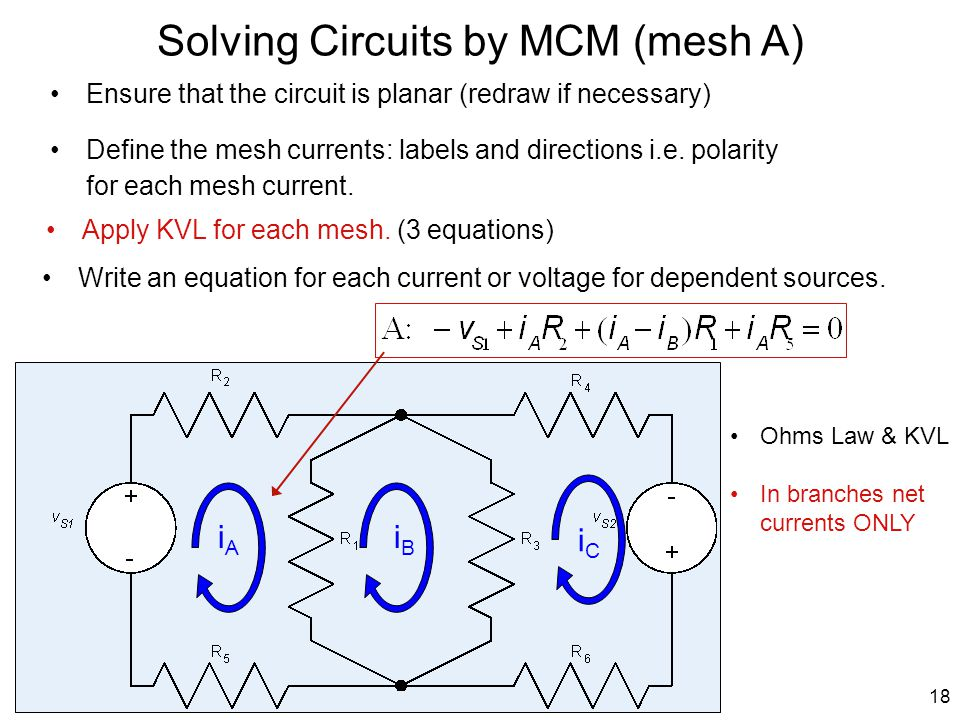 Solving Circuits by MCM (mesh A)