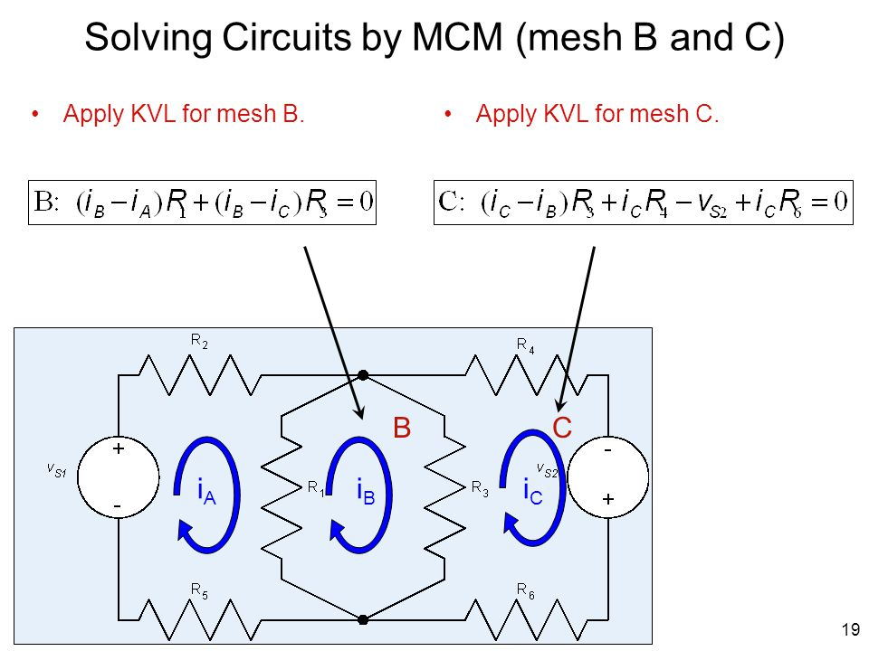Solving Circuits by MCM (mesh B and C)
