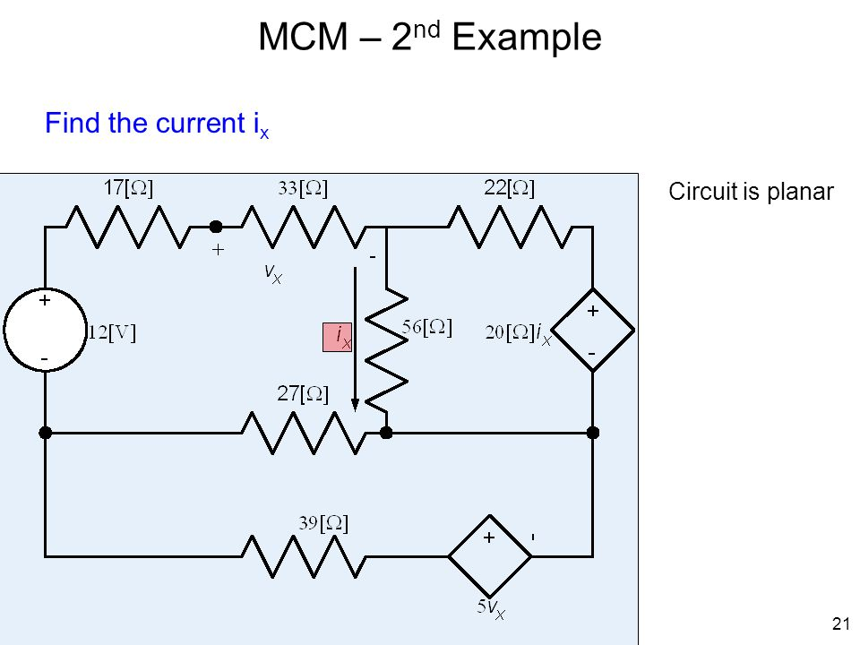 MCM – 2nd Example Find the current ix Circuit is planar