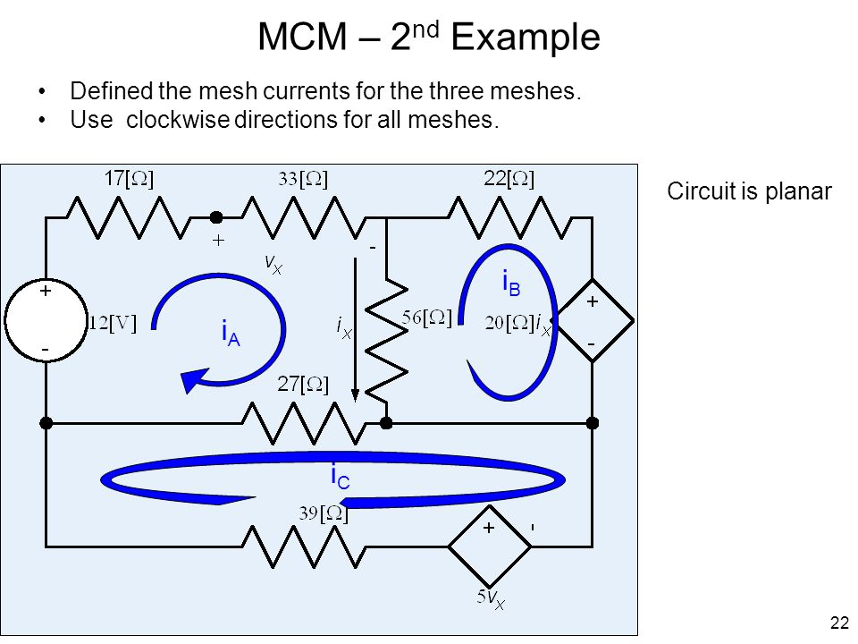 MCM – 2nd Example Defined the mesh currents for the three meshes. Use clockwise directions for all meshes.