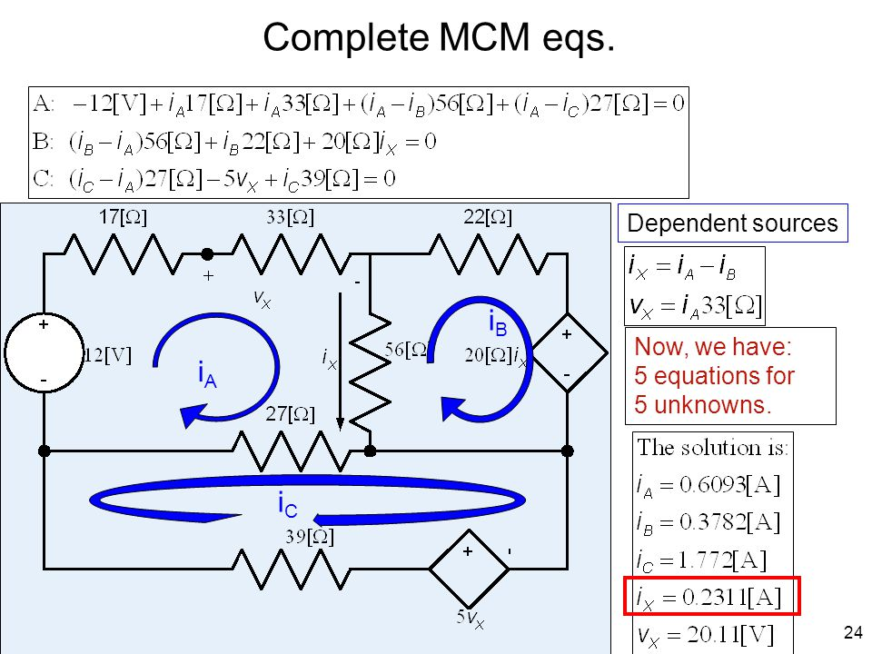 Complete MCM eqs. iB iA iC Dependent sources Now, we have: