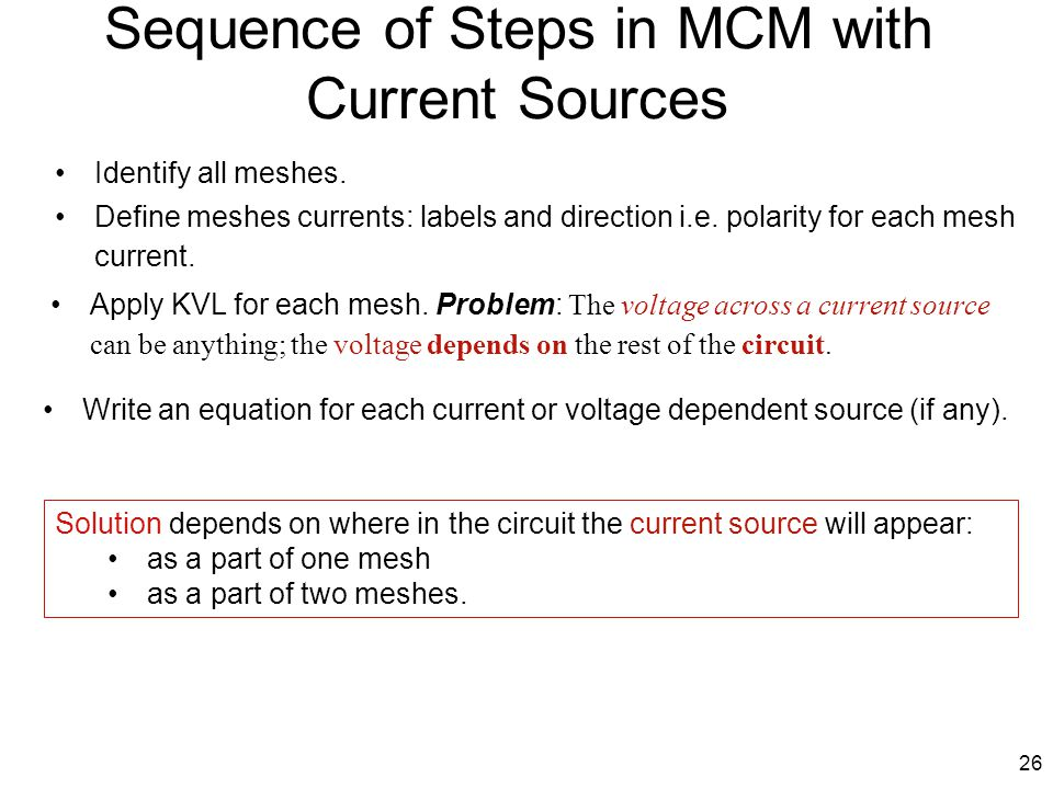 Sequence of Steps in MCM with Current Sources