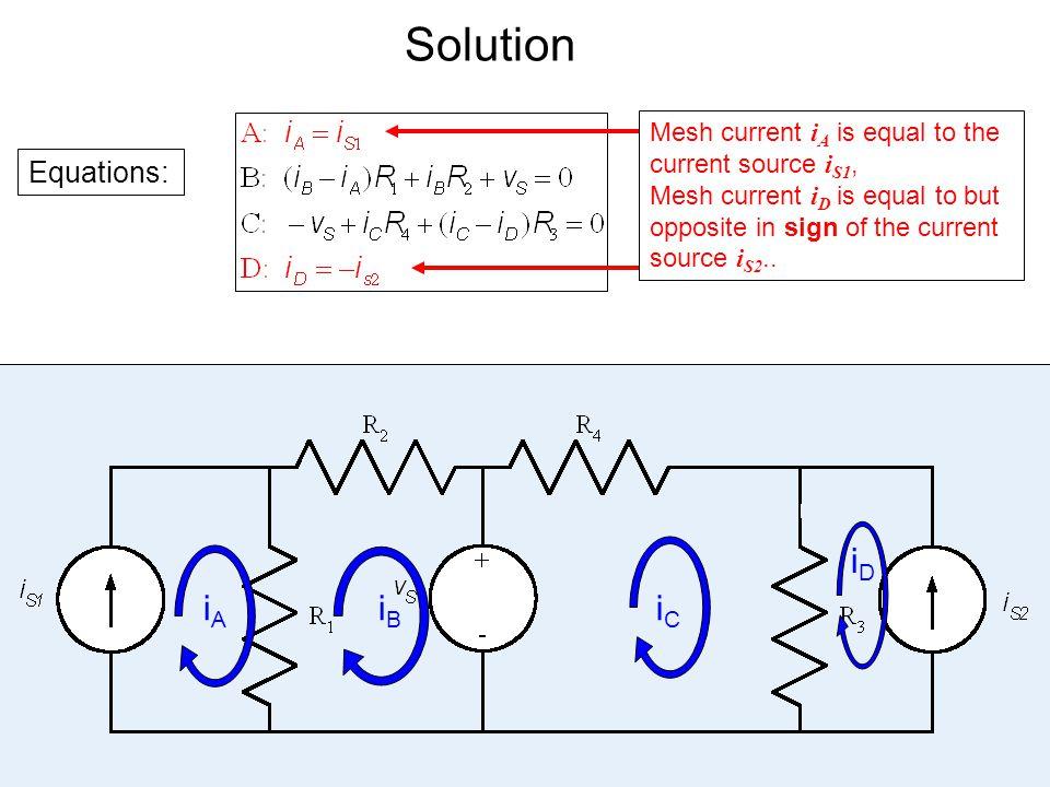 Solution iD iA iB iC Equations: